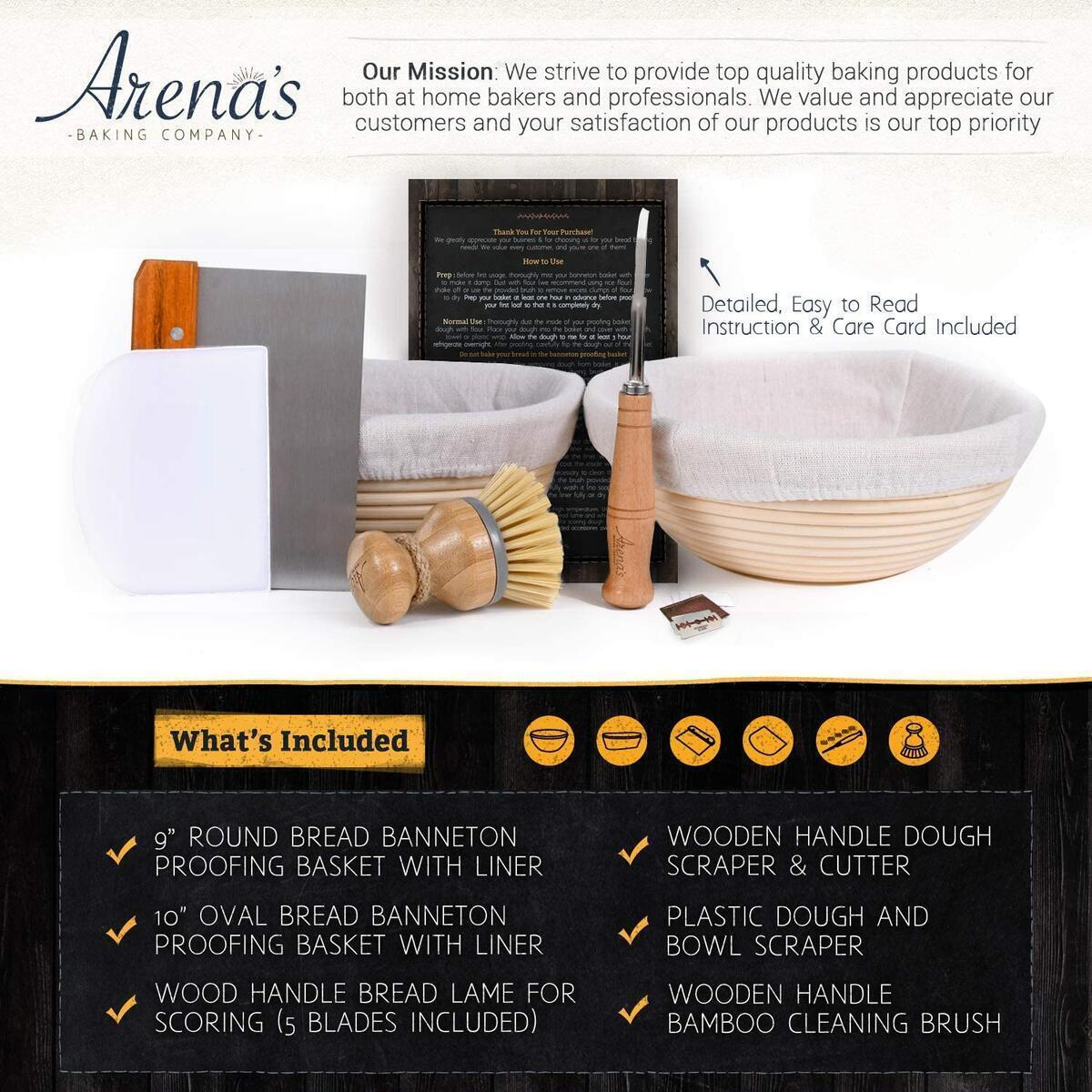 Sourdough Proofing Basket Kit Bread Baking Proofing Basket Set Includes Oval and Round Baskets, Liners, Metal Dough Cutter, Lame Bread Tool, Extra Blades, Bowl Scraper, Bamboo Cleaning Brush  & 15 Recipe Ebook