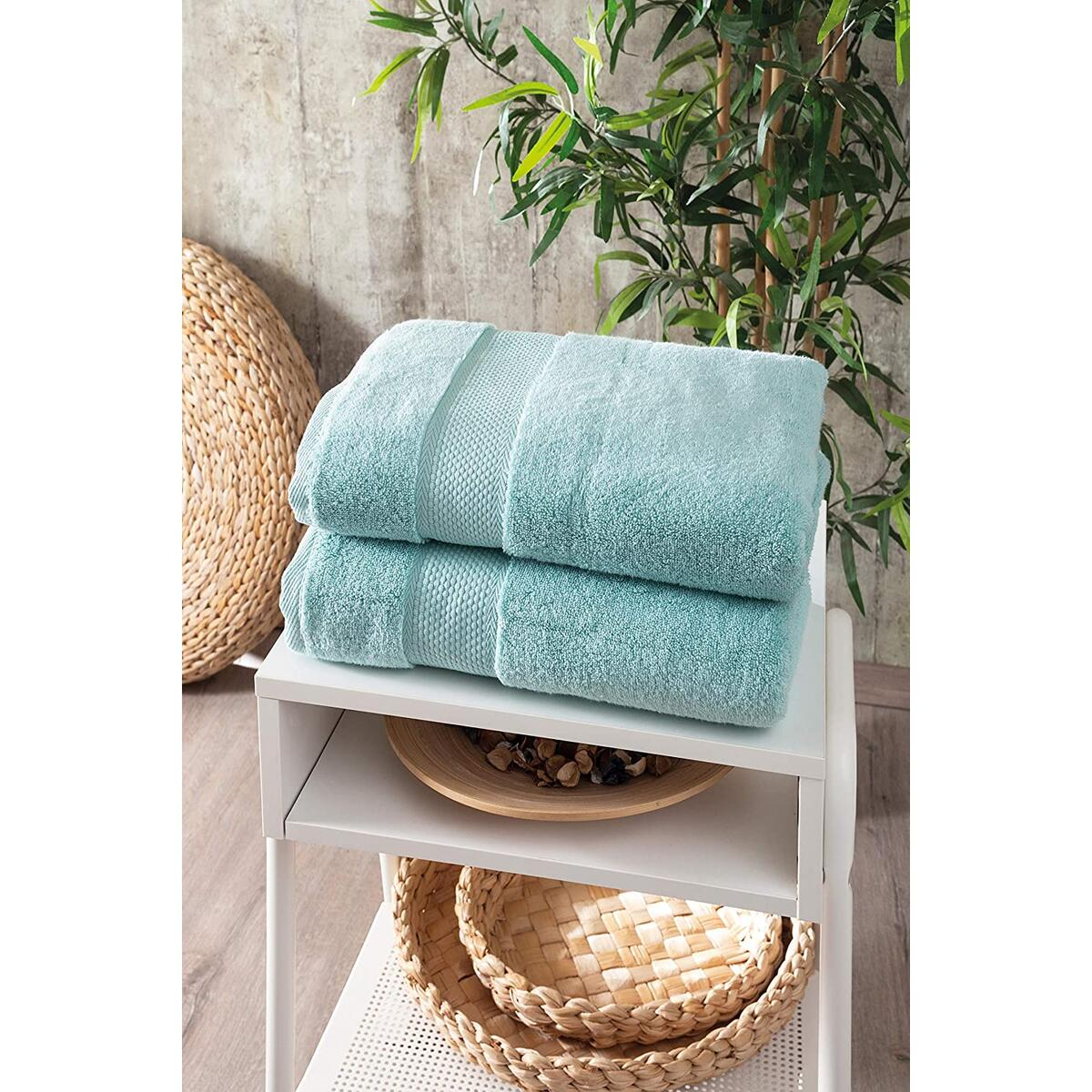 Bagno Milano Turkish Cotton Hotel Spa Towel Set, 100% Non-GMO Turkish Cotton | Ultra Soft Plush Absorbent Towels (Mint Green, 2 Pcs Bath Towel Set)