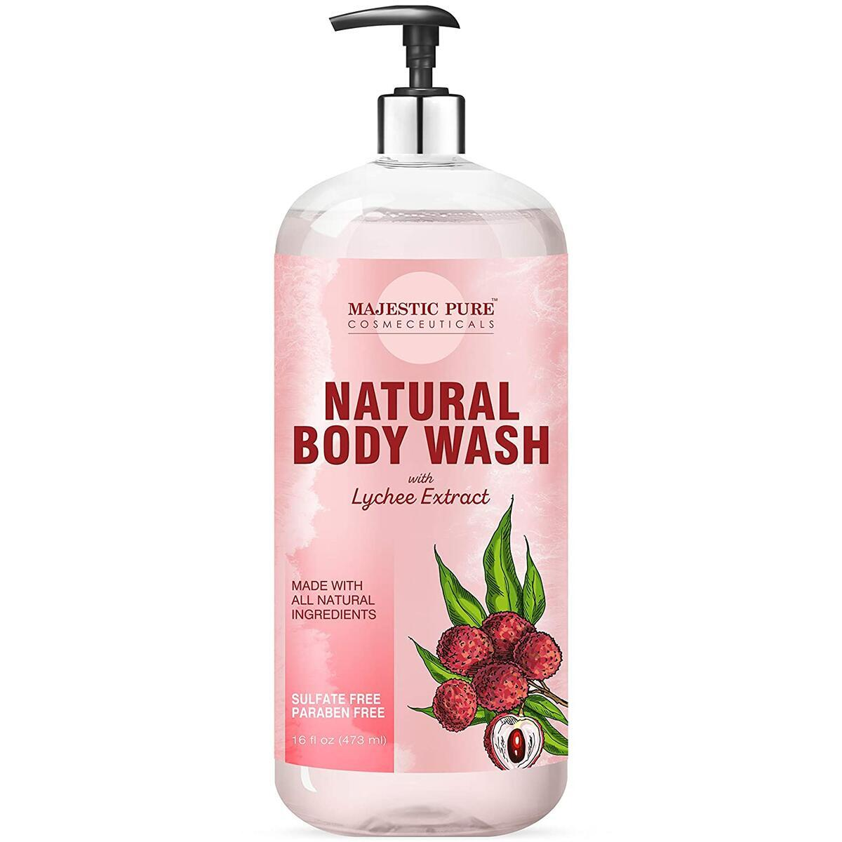 All Natural Body Wash with Lychee Extract - for Body, Face and Hand - Liquid Soap, Sulfate Free & Paraben Free, for Women and Men - 16 fl oz