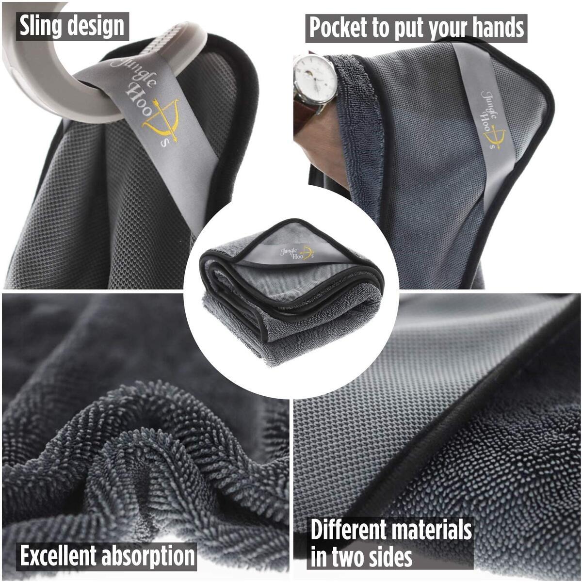 JUNGLE HOODS Premium Big-Size 600GSM Microfiber Super Absorbent Hand Pocket Drying Towel Convenient Handling Car Wash Rag (Gray, 2 in 1 Pack) (31.5 x 31.5 inch) (15.7 x 15.7 inch)