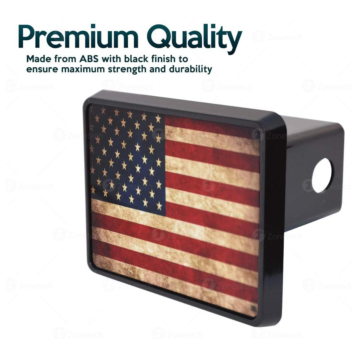 Zone Tech Tactical USA Flag Hitch Cover - Premium Quality Thick Durable Novelty American Flag Trailer Hitch Cover -US Patriotic Pledge of Allegiance