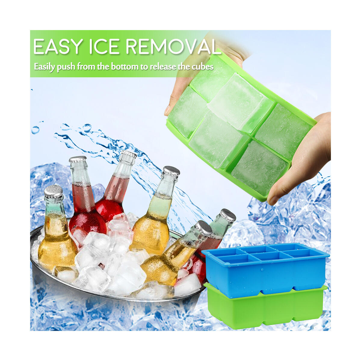 Ice Cube Trays - CASELAND 2 Pack Large Silicone Ice Trays with Lid for Whiskey and Cocktails, Keep Drinks Chilled Ice Cube Molds Reusable and BPA Free