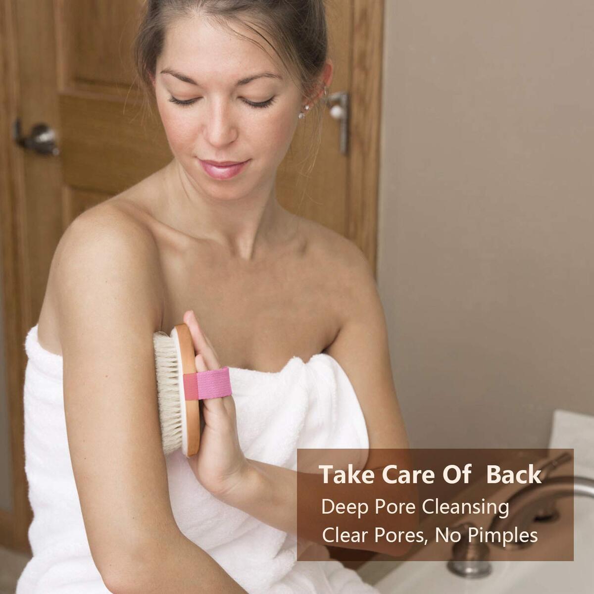 Dry Bath Body Brush Round Wet and Dry Skin Exfoliating Shower Brush, Deep Massage, Soften Stratum Corneum and Remove Aging Skin, Wake up Body Functions
