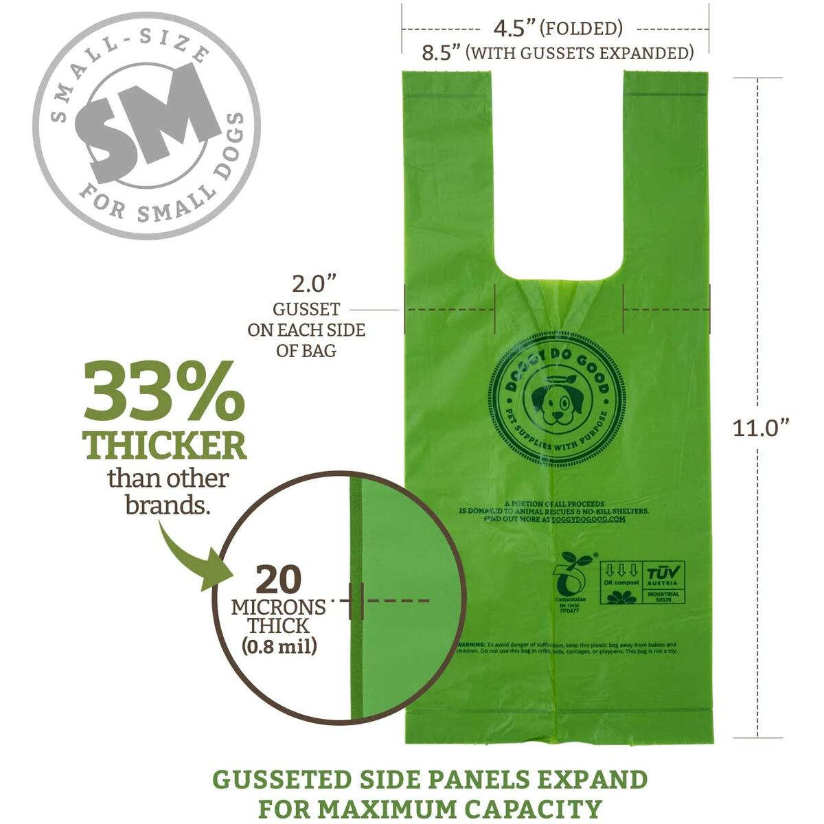 Biodegradable & Compostable Pet Waste Bags for Small Dogs, Puppies & Toy Breeds