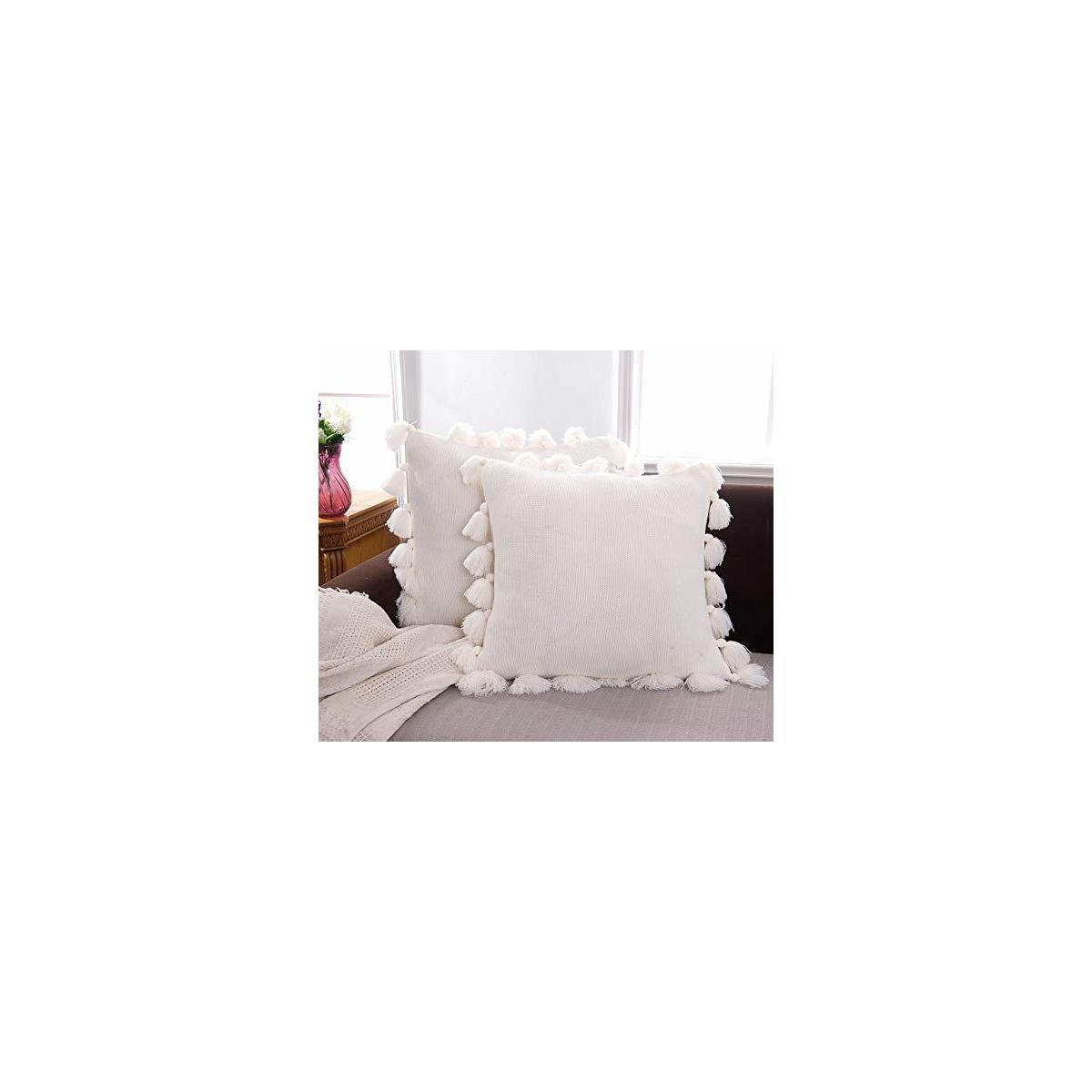Blackbunny Square Cream Decorative Throw Pillow Cover Woven Accent Boho Rebates Rebatekey