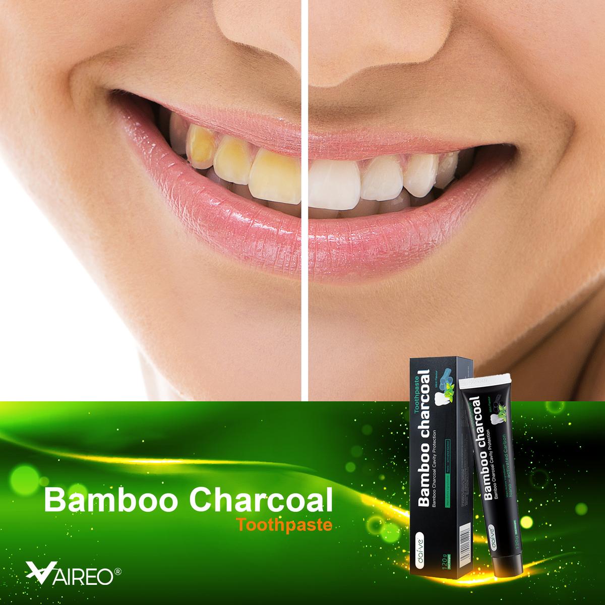 Bamboo Charcoal Toothpaste - 100% Natural Organic Tooth Paste non-Floride Non-GMO