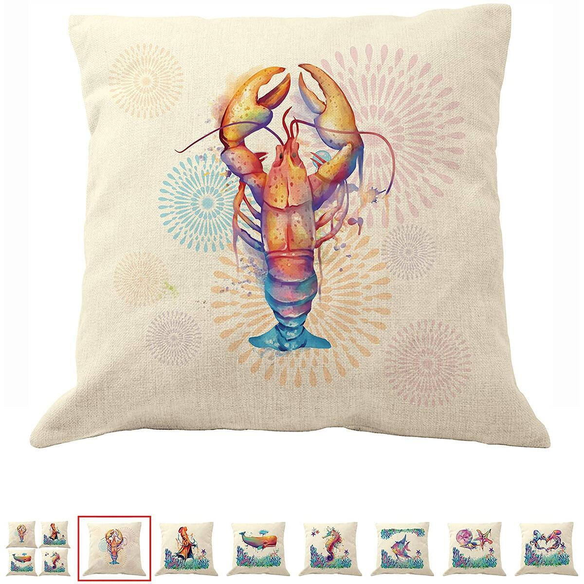 DrupsCo 18x18 Lobster Pillow Cover for Couches - Lobster Decor Pillow Cover, Cotton Linen Coastal Decor Beach Theme Pillow Covers