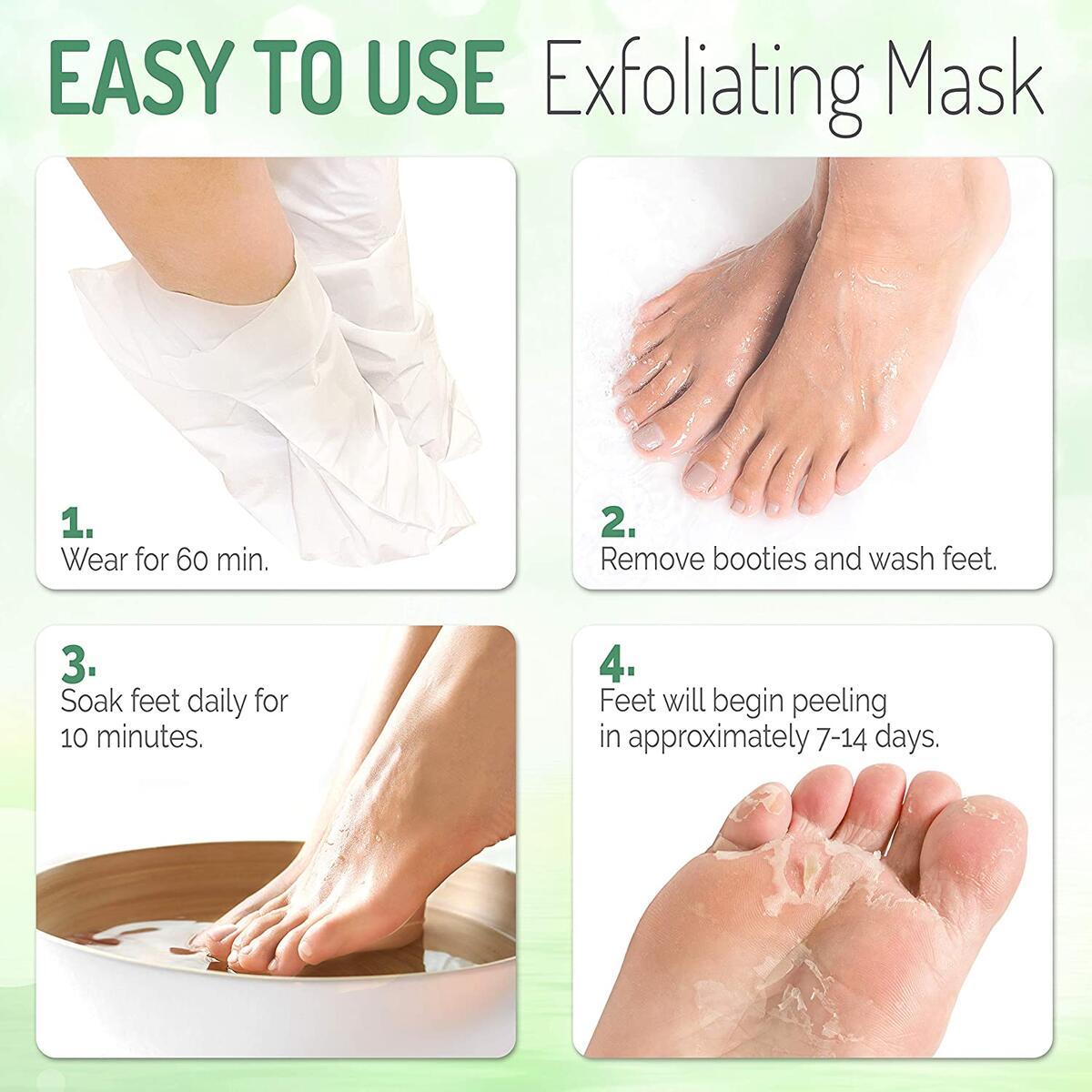 Tea Tree Foot Peel Mask – 2 Pack of Peeling Booties – Natural Foot Care Exfoliating Treatment Repairs Cracked Heels, Calluses & Removes Dead, Dry Skin
