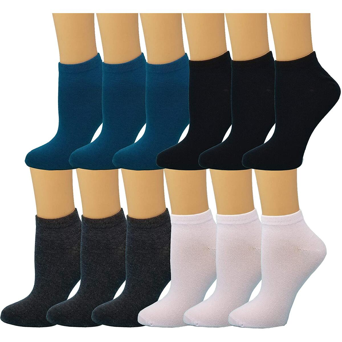 Debra Weitzner Womens Cotton Ankle Socks 12 Pairs Low-Cut Socks Colorful Casual No-Show Socks