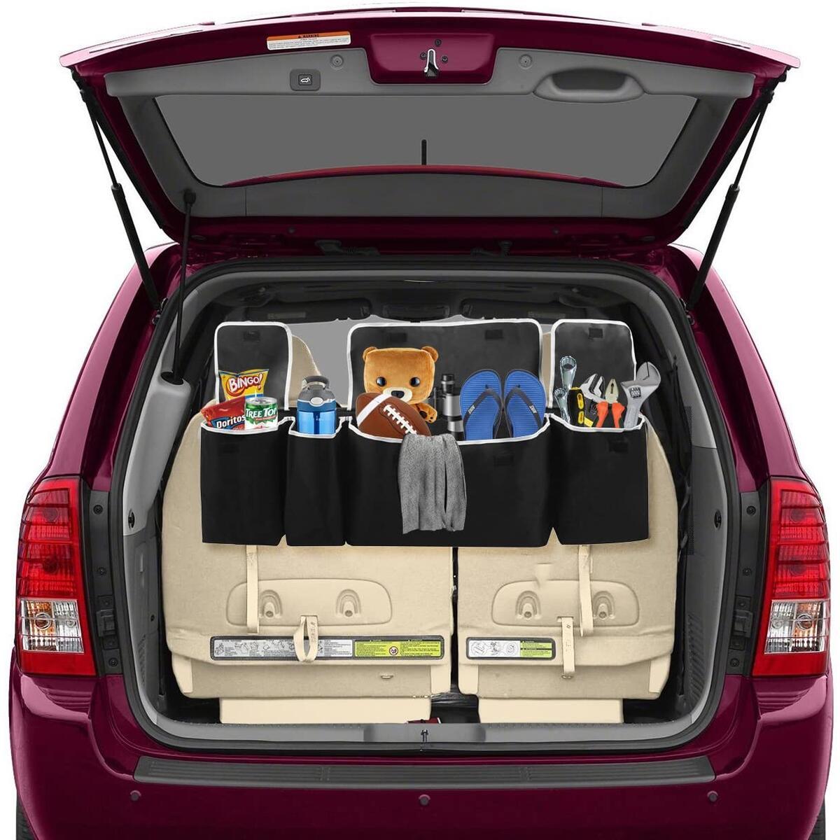 Back Seat, Trunk Organizer, 4 Pocket Car Interior Organizer, Backseat Organizer with 3 Separate Lids, Multipurpose Collapsible Cargo Accessories Organizer, Back Seat Storage Organizer