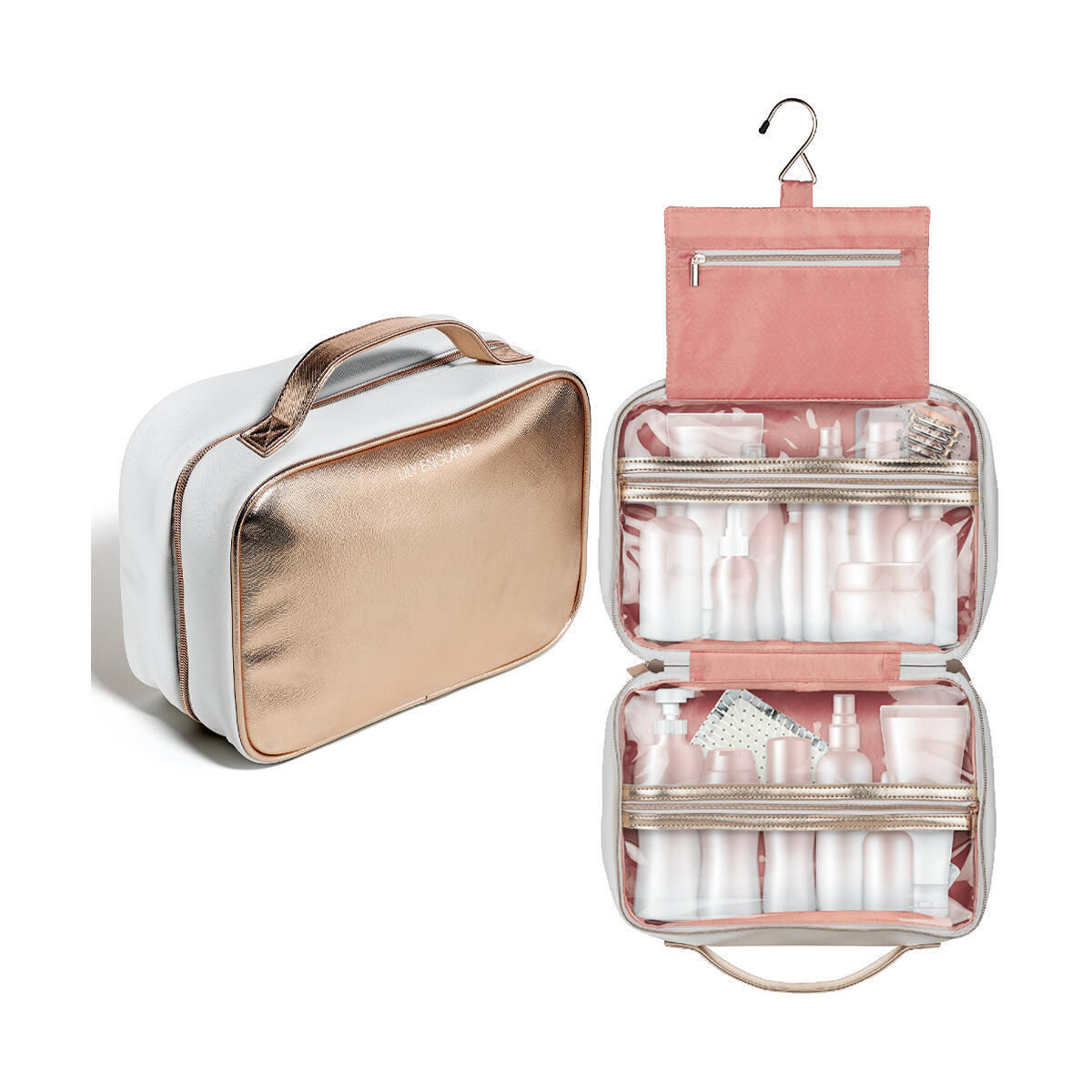 Hanging Toiletry Bag - Large Makeup Bag With Hook - Rose Gold