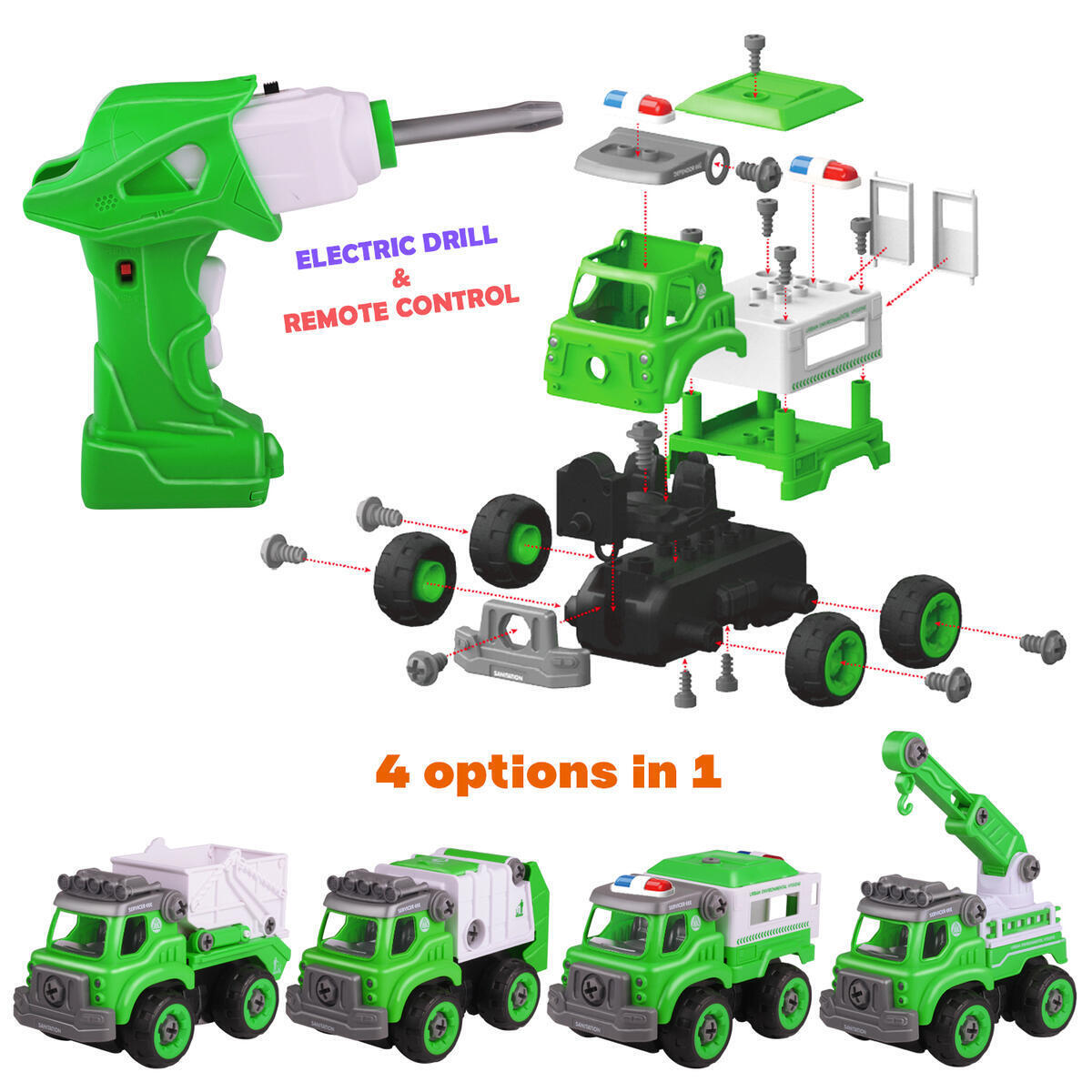 YAHI & CO 4 in 1 Sets Toys for Boys & Girls Kit for Kids Children Ages 4 5 6 7 8 Years Old [76 pcs]