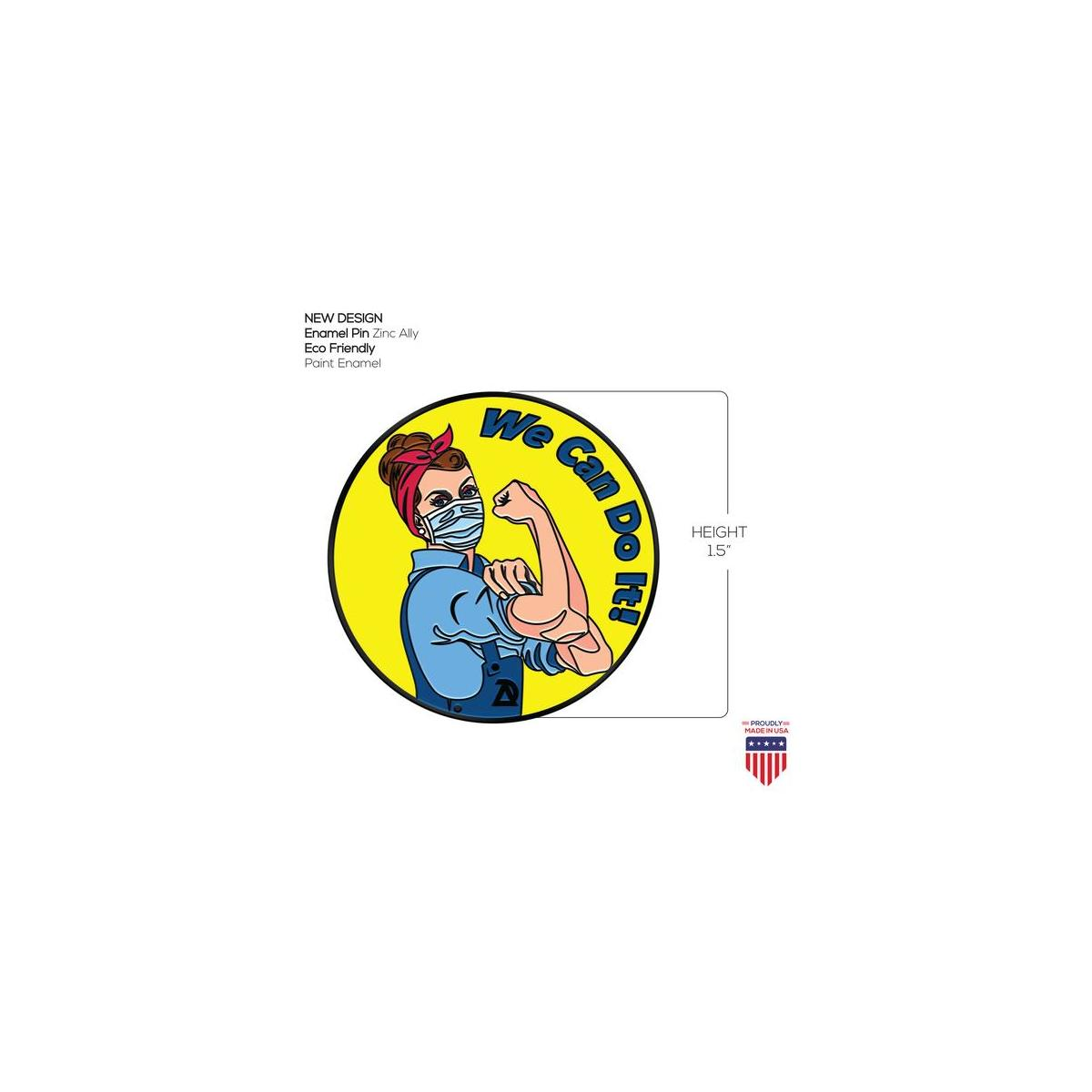 ADESIGNSTORE We can do it  Covid 19 Enamel Jacket Lapel Pin - Mask Rosie The Riveter Backpack Pin - Memorial Corona Pin Brooch Badges Clothes Bags Shirt - Made USA