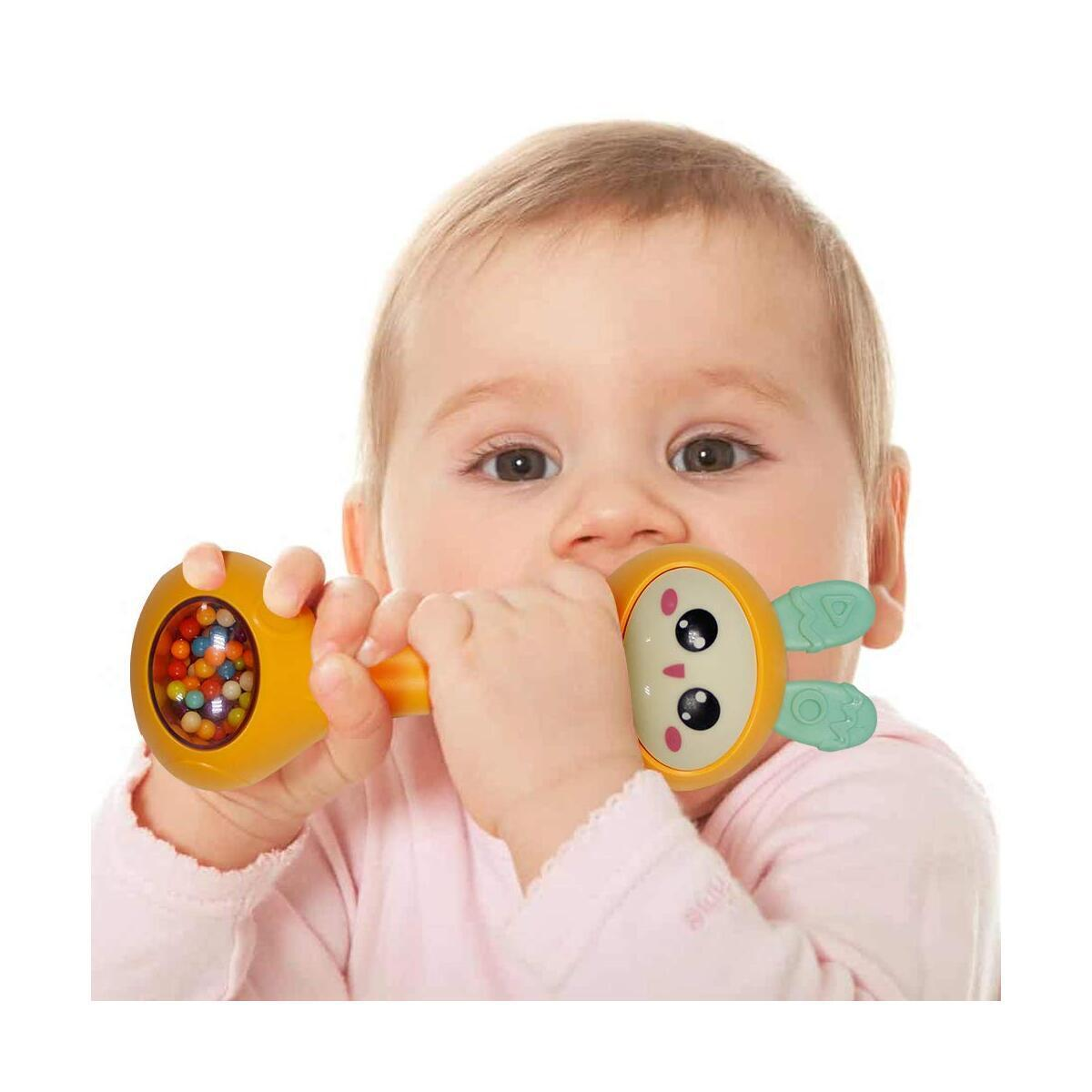 Baby Rattle Teether Molar Toy - SOWOW Baby Grip Silicone Molar Toy Rotating Baby Rattle Gift Set Suitable for Newborn Rattle Musical Toys for 3, 4, 5, 6, 7, 9, 12 months