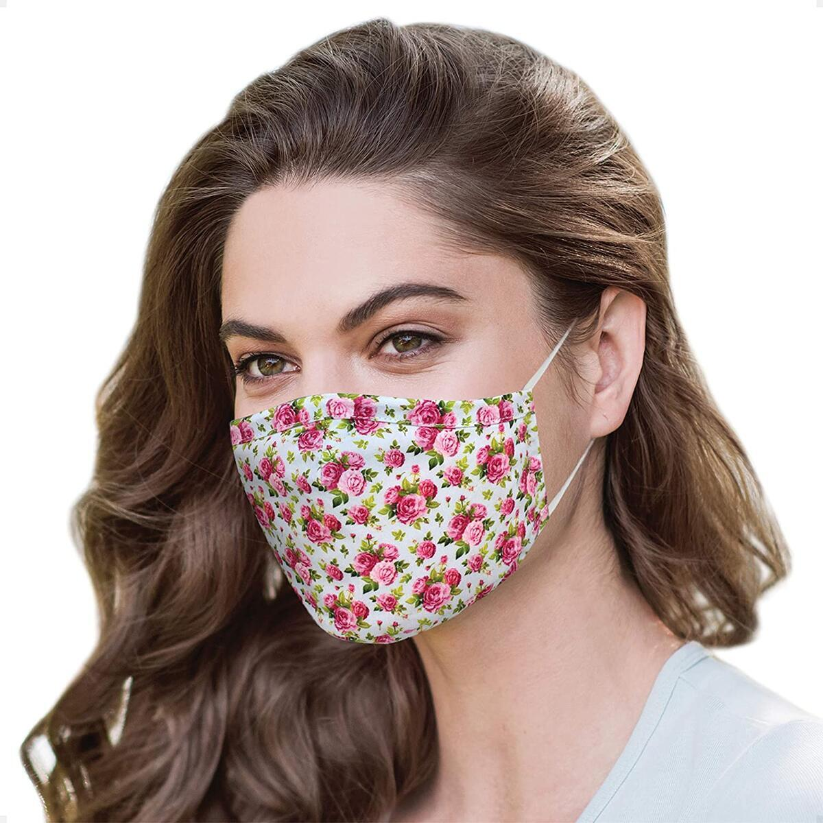 Flower Mask With Nose Wire Reusable and Washable with 4 Carbon Filters | Floral Mask | Designer Face Mask | Cotton Face Mask |Fashionable Face Mask | Travel Airplane Mouth Mask