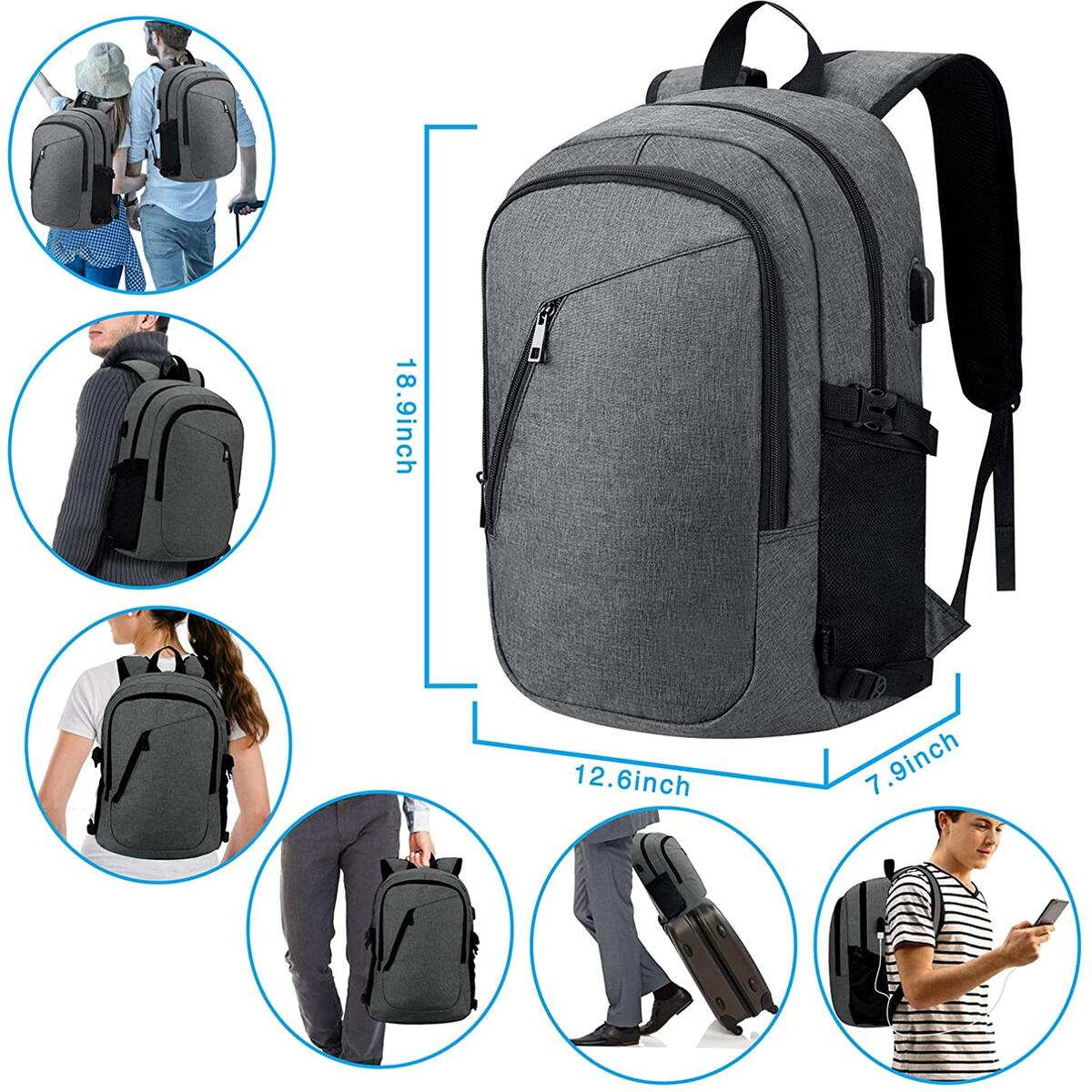 Laptop Backpack Business Durable School bag with USB Charging Port Fit 15.6 Inch Notebook