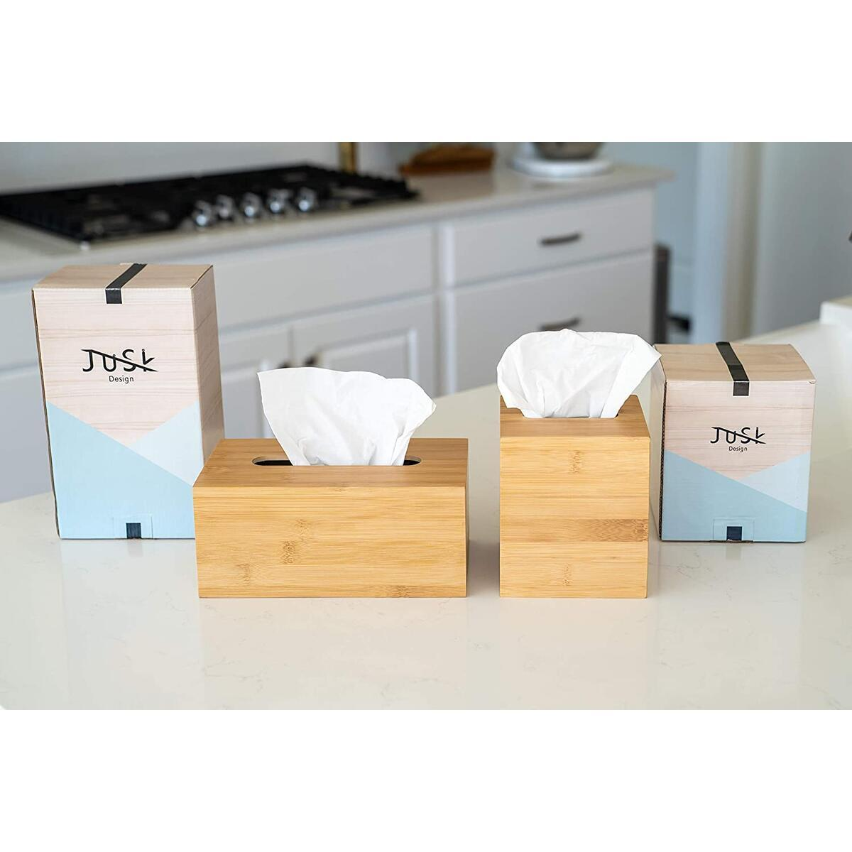 JUSK Design Bamboo Tissue Box Holder - Square - Rectangle