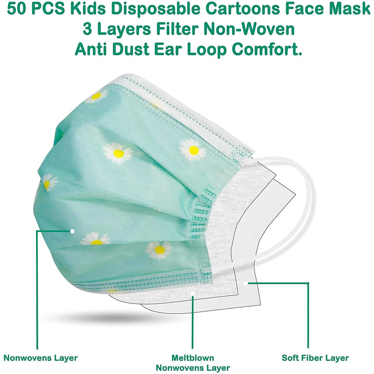 Toddler Face Masks – 50Pcs Kids Disposable Face Masks – 3-Ply Mask for Kids – 5 Cute Designs – Non-Woven Fabric and Comfortable Ear Loops – Optimal Breathability