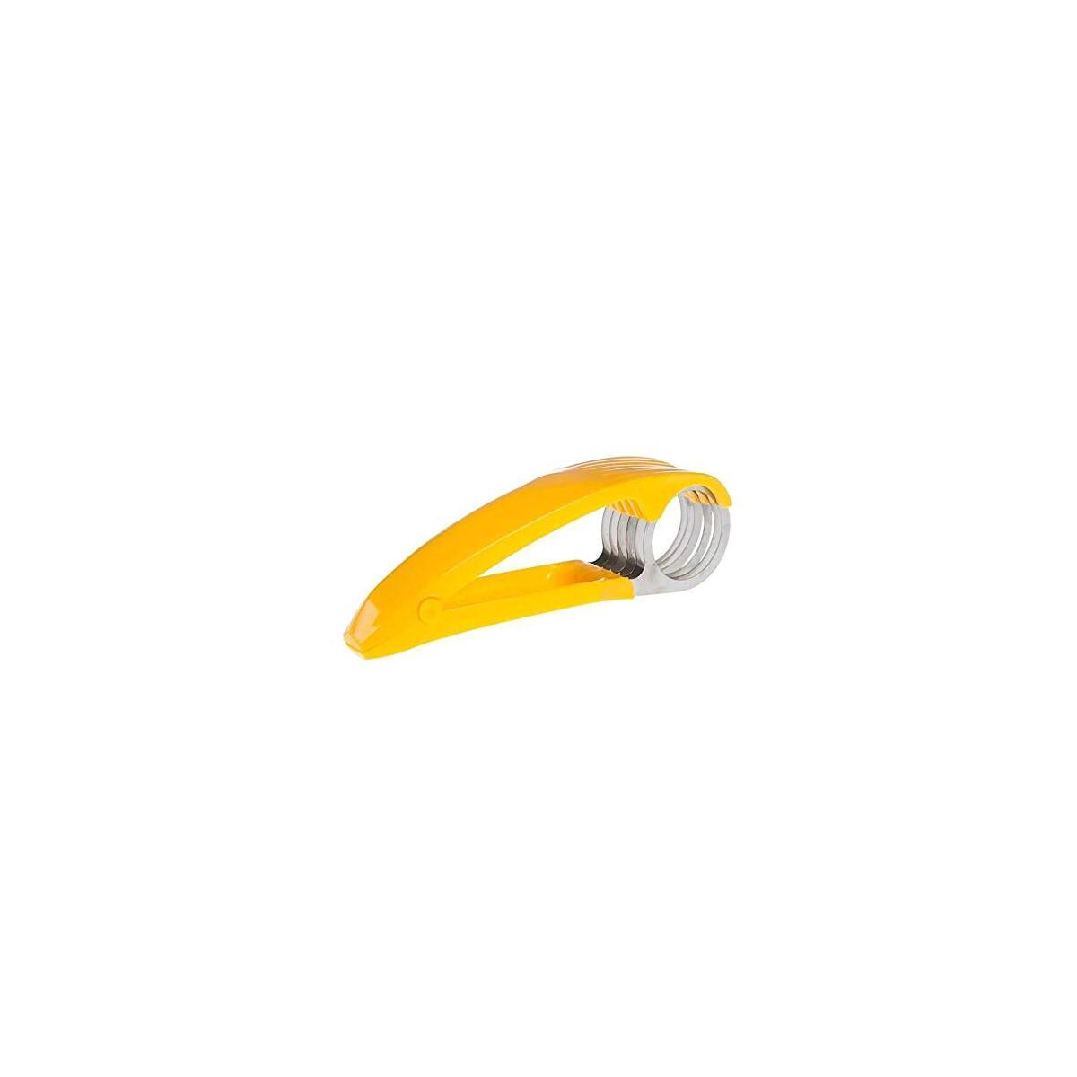 Banana Slicer Stainless Steel for Kitchen Tools, ABS Fruit Salad Peeler Cutter, Easy Handle Banana Cucumber Hotdog Tool Slicer