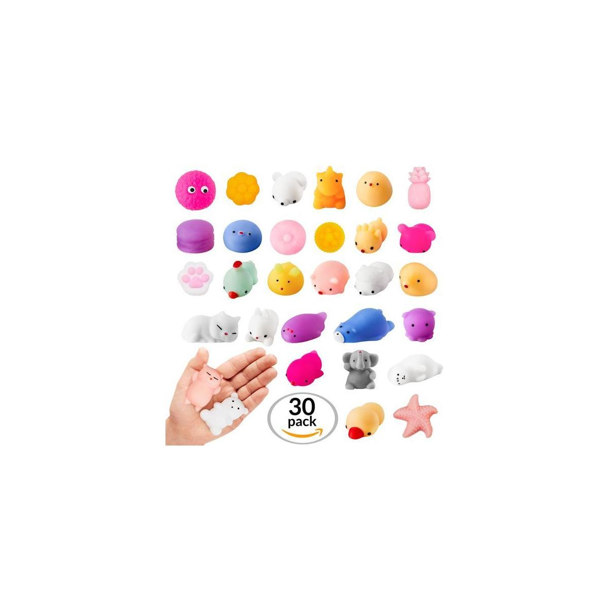 Coral Entertainments Squishies Toys 30 Pack Kawaii Squishy Set Mini Soft Squeezable Sensory Fidget Toys Slow Rising Decoration and Stress Relief