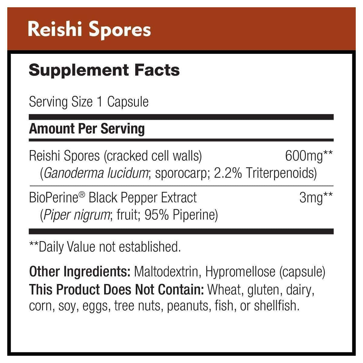 Reishi Spores 600mg by DailyNutra - Therapeutic Immune Booster with 2.2% Triterpenoids | Reishi Mushroom Spore Extract with Cracked Cell Walls for Increased Absorption (90 Capsules)