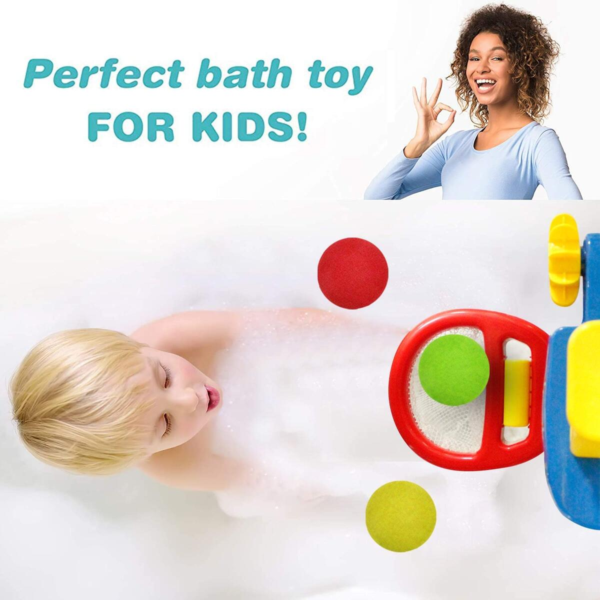 HANMUN Shoot and Splash Basketball Hoop Bathtub Shooting Game - Bath Toy Playset for Kids and Toddlers - 3 Balls Included
