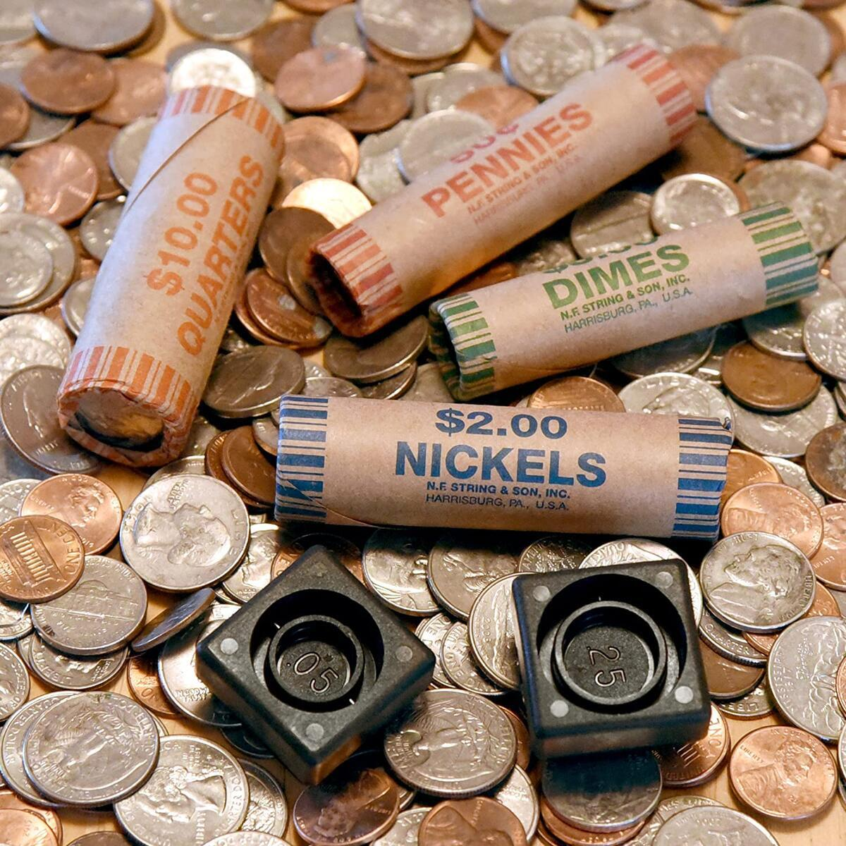 150 Coin Wrappers & Twist N Crimp Wrapper Sealer Made in USA - Durable Preformed Paper Tubes - Assorted Sizes - 60 Quarters, 30 Pennies, 30 Nickels and 30 Dimes