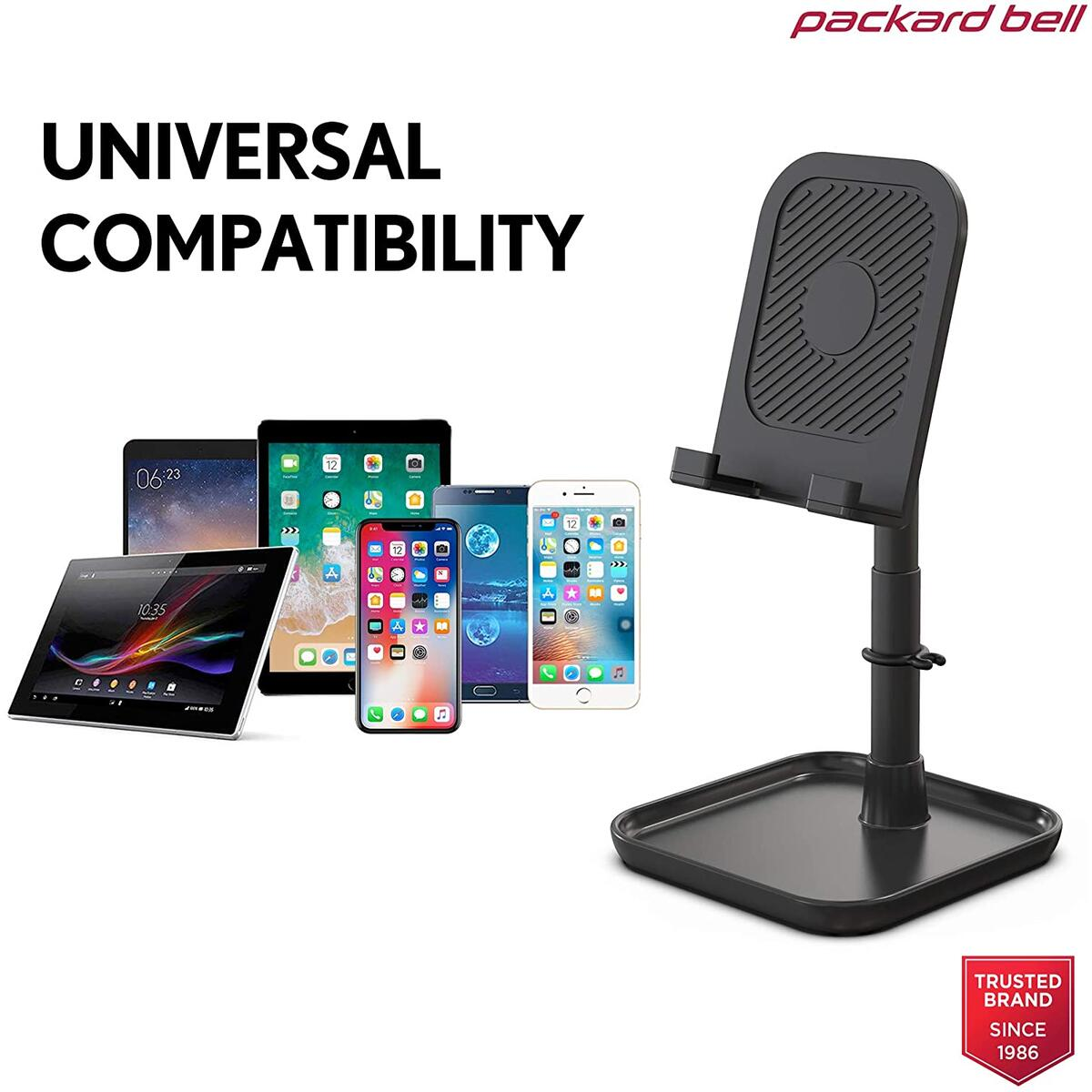 Adjustable Cell Phone Stand and Weighted Base for Smartphone, Tablet, or Handheld Gaming Device with Change Tray - Great for all iPhones, iPads, Switch, and Galaxy models