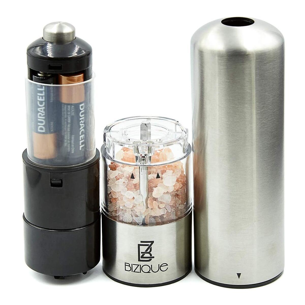 Salt and Pepper Electric Grinder Mill Set - Stainless Steel/Ceramic Kitchen Shaker LED Lights