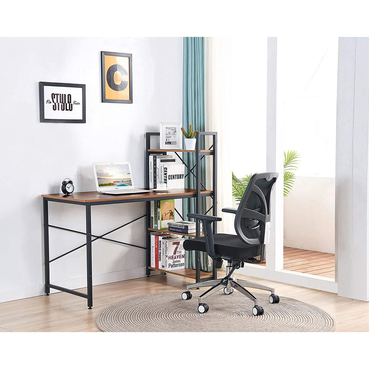 IBAMA Home Office Desk and Shelves, Study Writing Table with Bookshelves Ample Storage Space Modern Frame Compact Wood Desktop Home Work Office Workstation