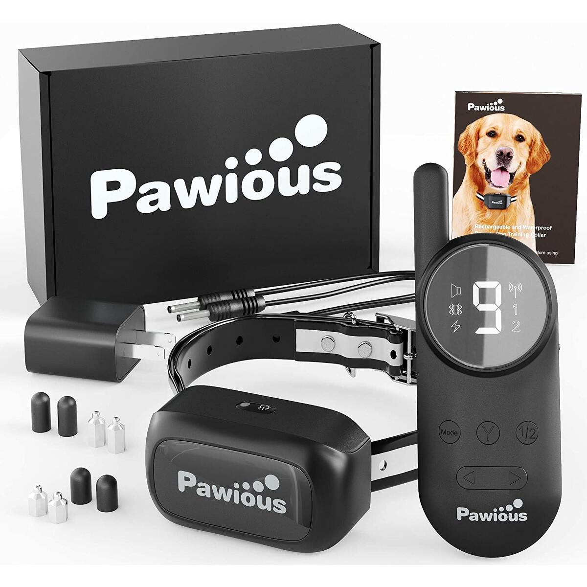Pawious Dog Training Collar with Remote [Newest] - Rechargeable Dog Shock Collar for Small Medium and Large Dogs | Long Range up to 1600ft, Waterproof, E-Collar…