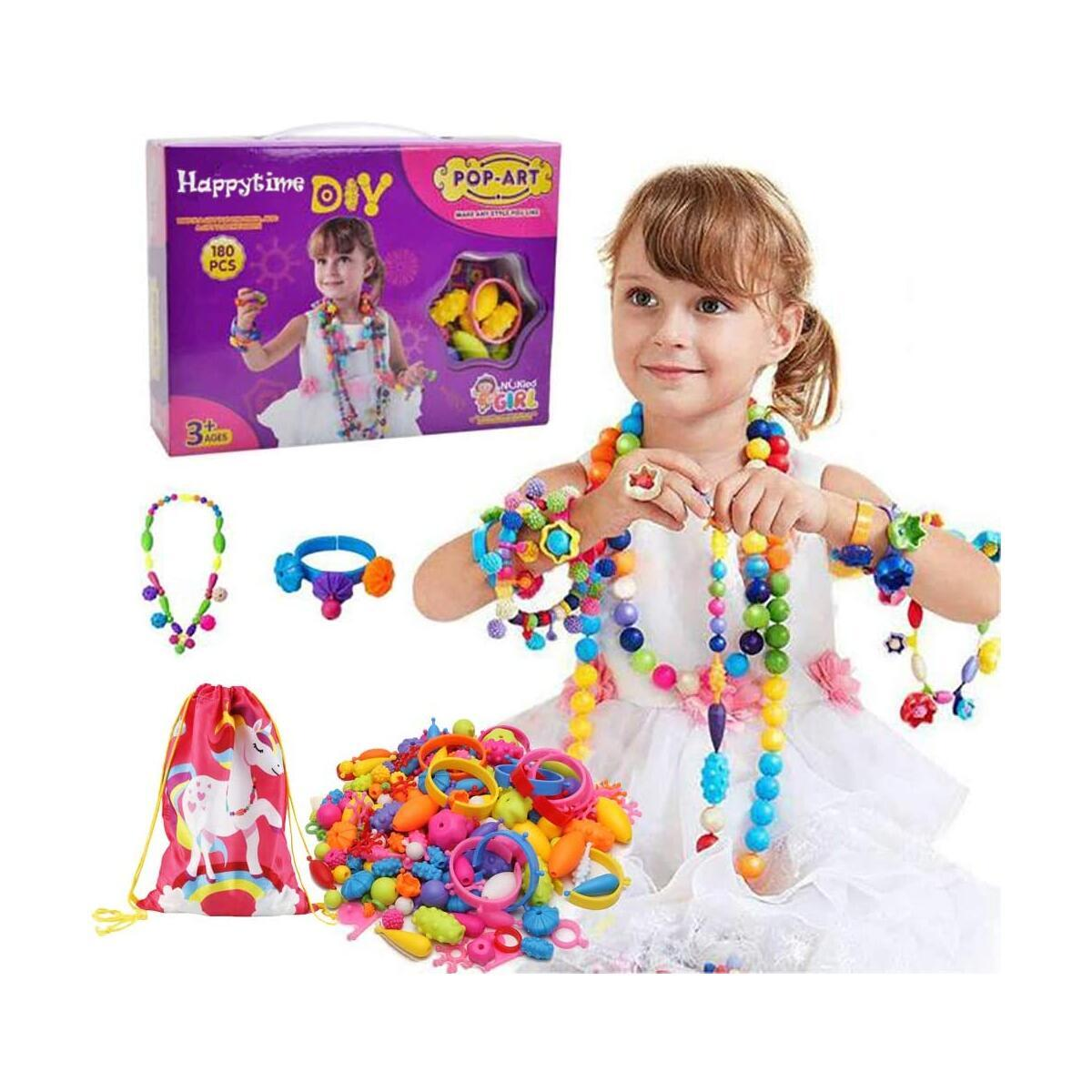 Happytime Snap Pop Beads Girls Toy 180 Pieces Jewelry Marking Kit Fashion Fun for Necklace Ring Bracelet Art Kids Crafts Birthday Fun Gifts Toys for 3, 4, 5, 6, 7 ,8 Year Old Kids Girls