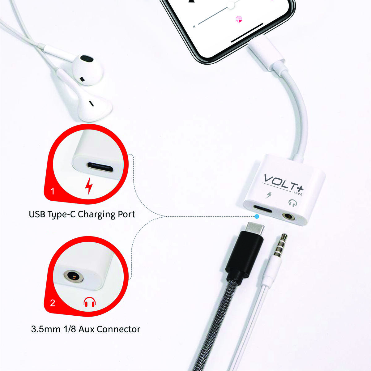Volt Plus Tech Headphone Aux Adapter Works for Samsung LG Google Apple iPads with USB-C 3.5mm Audio & Charging Port…