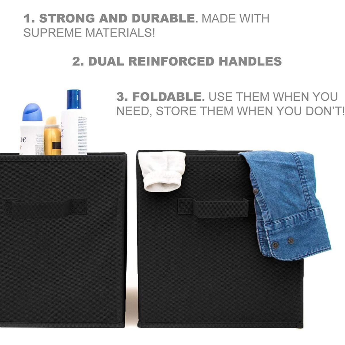 Storage Cubes - 9 Pack - Durable and Sturdy Storage Cube Bins (Black)