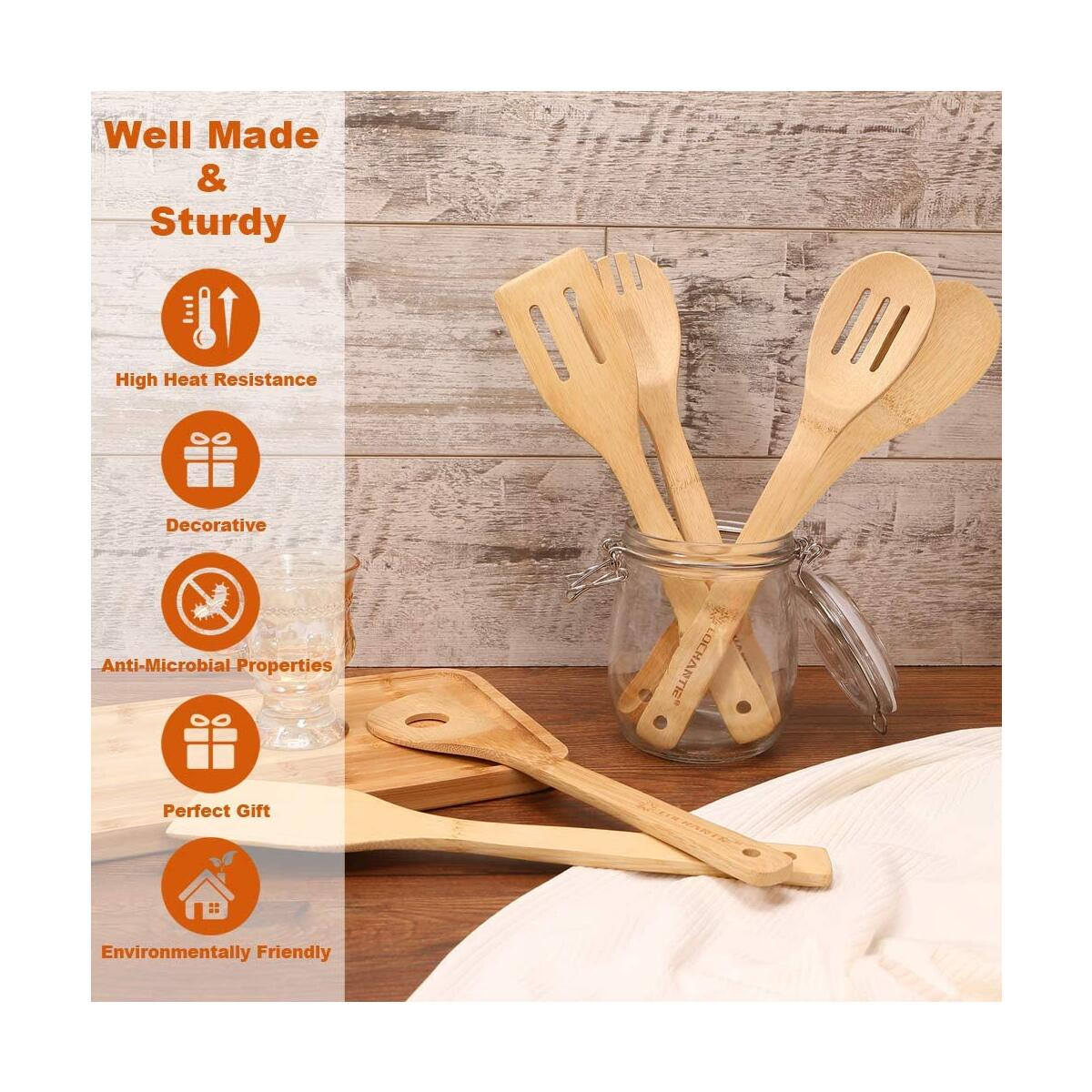 wooden spoons for cooking 6 pack