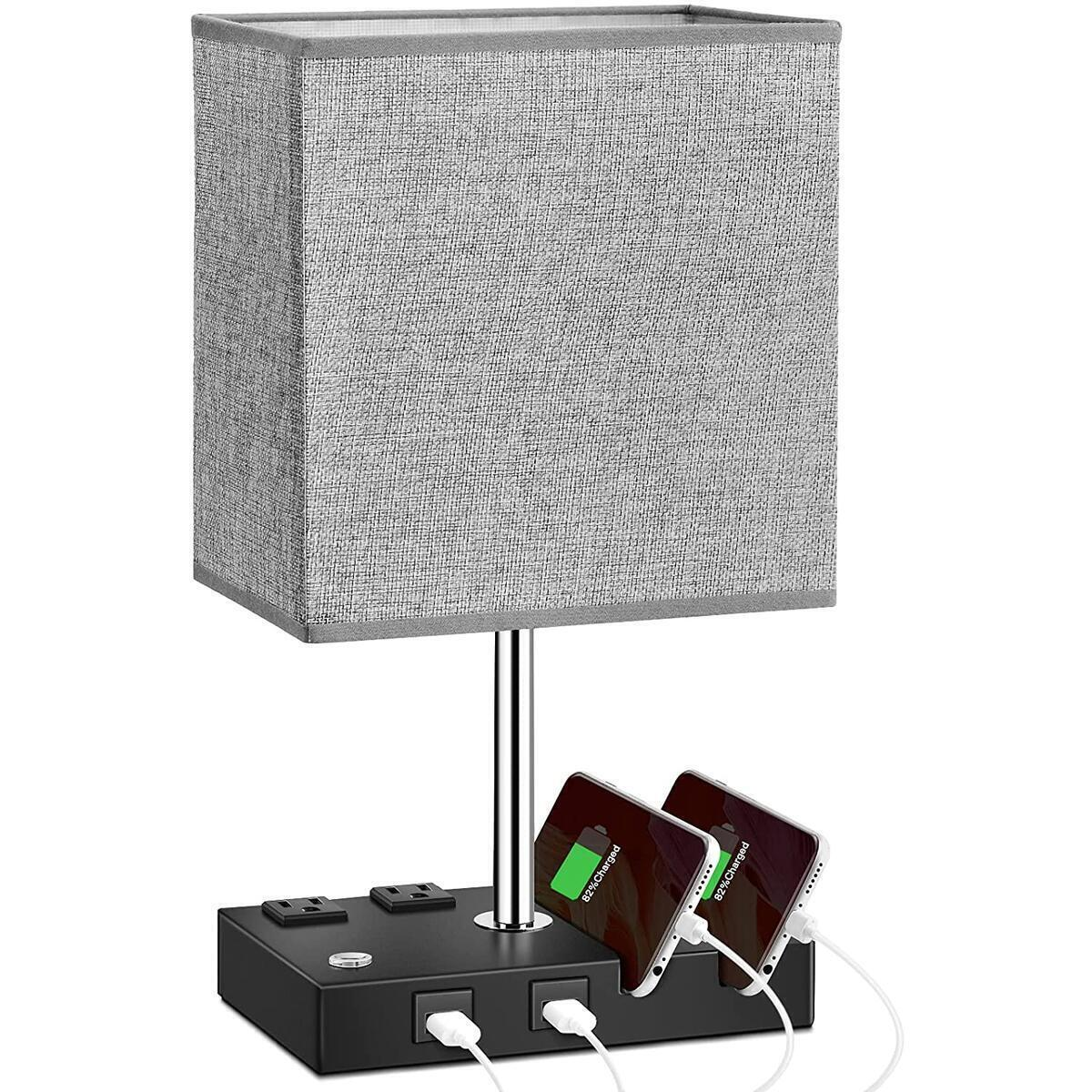 Bedside Table Dimmable Lamp Desk Lamp with 2 USB Charging Ports, 2 AC Outlets and 2 Phone Stands for bedrooms