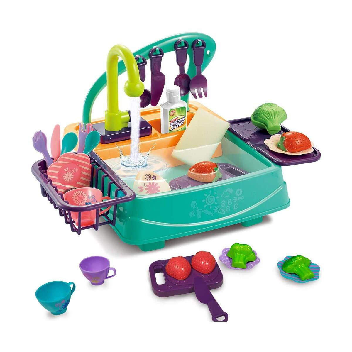 Happytime 27 Pieces Toy Kitchen Set Play Kitchen Toy Utensils Play Dishes Accessories Plates Dishwasher Playing Toy with Running Water, Play House Pretend Role Play Toys for Boys Girls