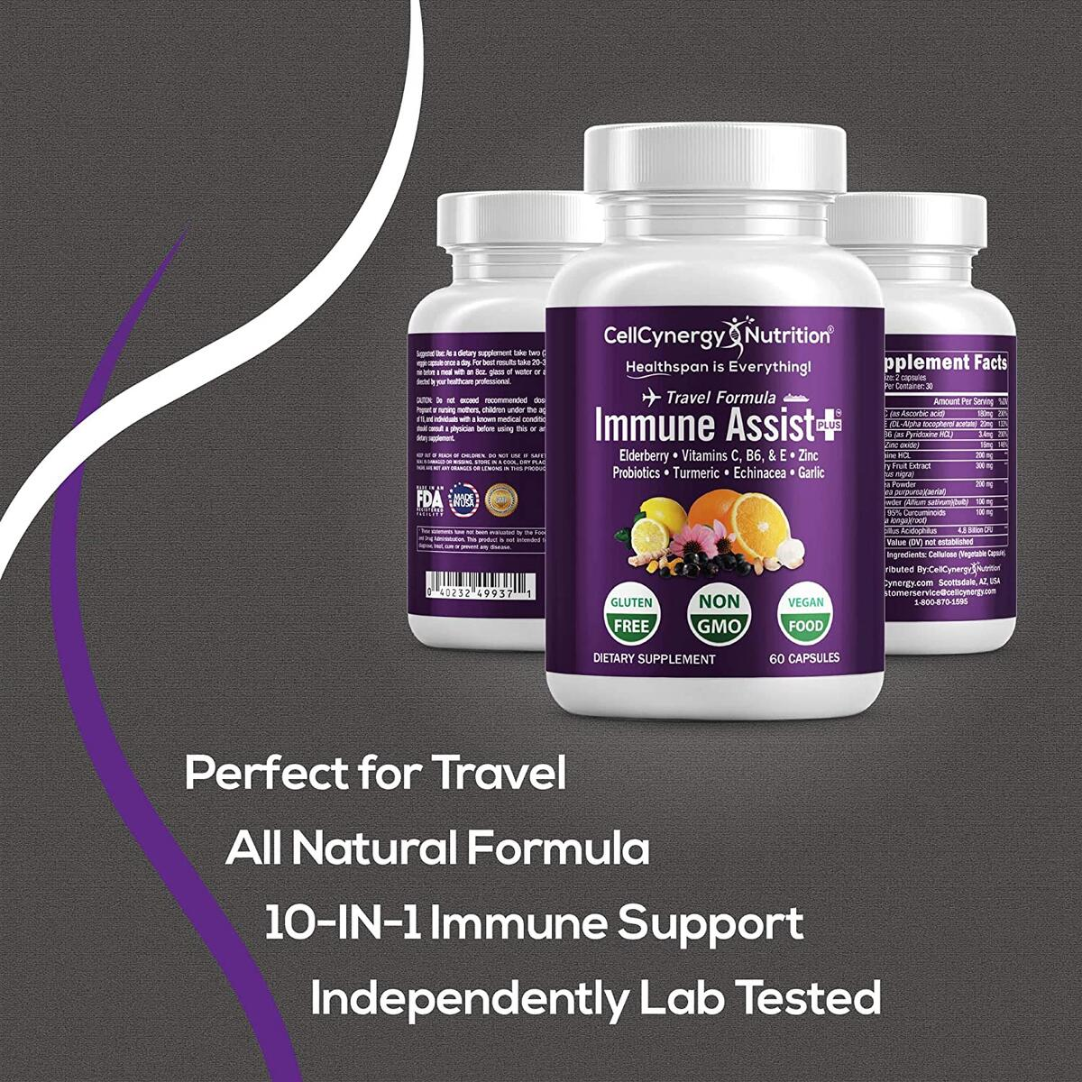 Immune Assist+ Immune Support Supplement with 10 Ingredients - Travel Formula to Boost Your Immune System - Multivitamin Supplement with Elderberry, Vitamin C, Zinc & Turmeric