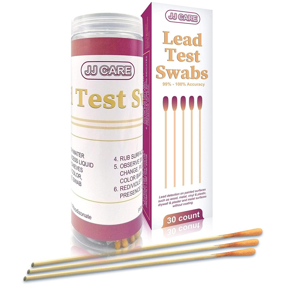 [Pack of 30] Lead Test Kit for All Painted Surfaces, Lead Test Swabs, Lead Testing Kit, Accurate Results in Seconds! Dip in Water Lead Paint Test Kit for Wood, Metal, Vinyl, Plastic, Plaster & Drywall