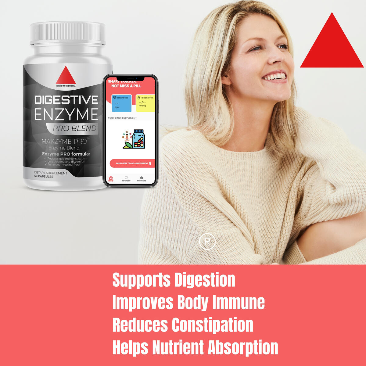 Digestive Enzymes with Probiotics and Prebiotics, Daily Digestive Support Supplement, Formulated for Gas, Bloating, Digestion & Occasional Constipation, Non-GMO - 60 Capsules