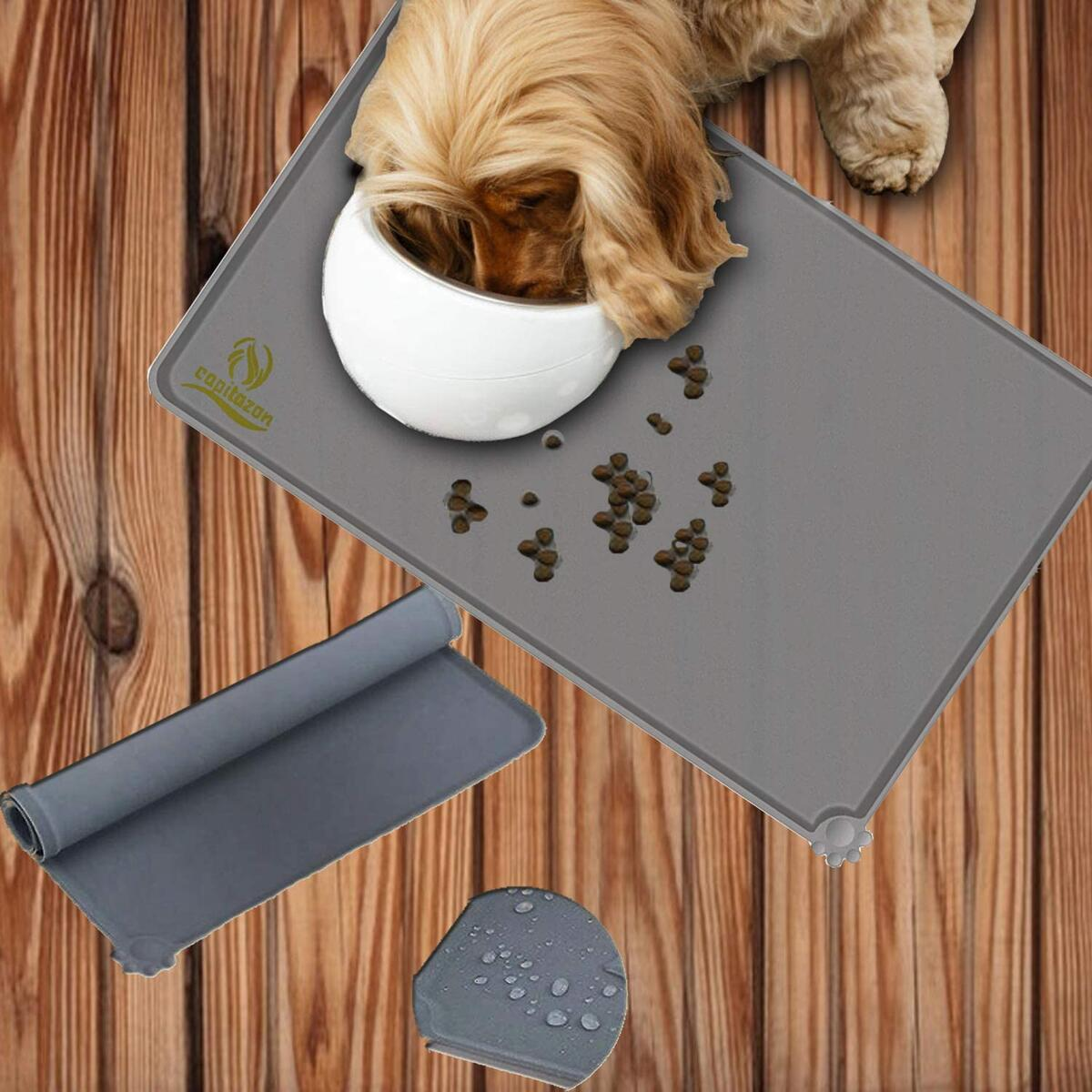 Capitazon Pet Food Mat for Dog Cat Bowls & Chewing Ball | Waterproof Silicone Pet Place Mat Tray with Raised Edges Nonslip & Easy to Wash | Dog Toy for Chewing & Food Treat Ball
