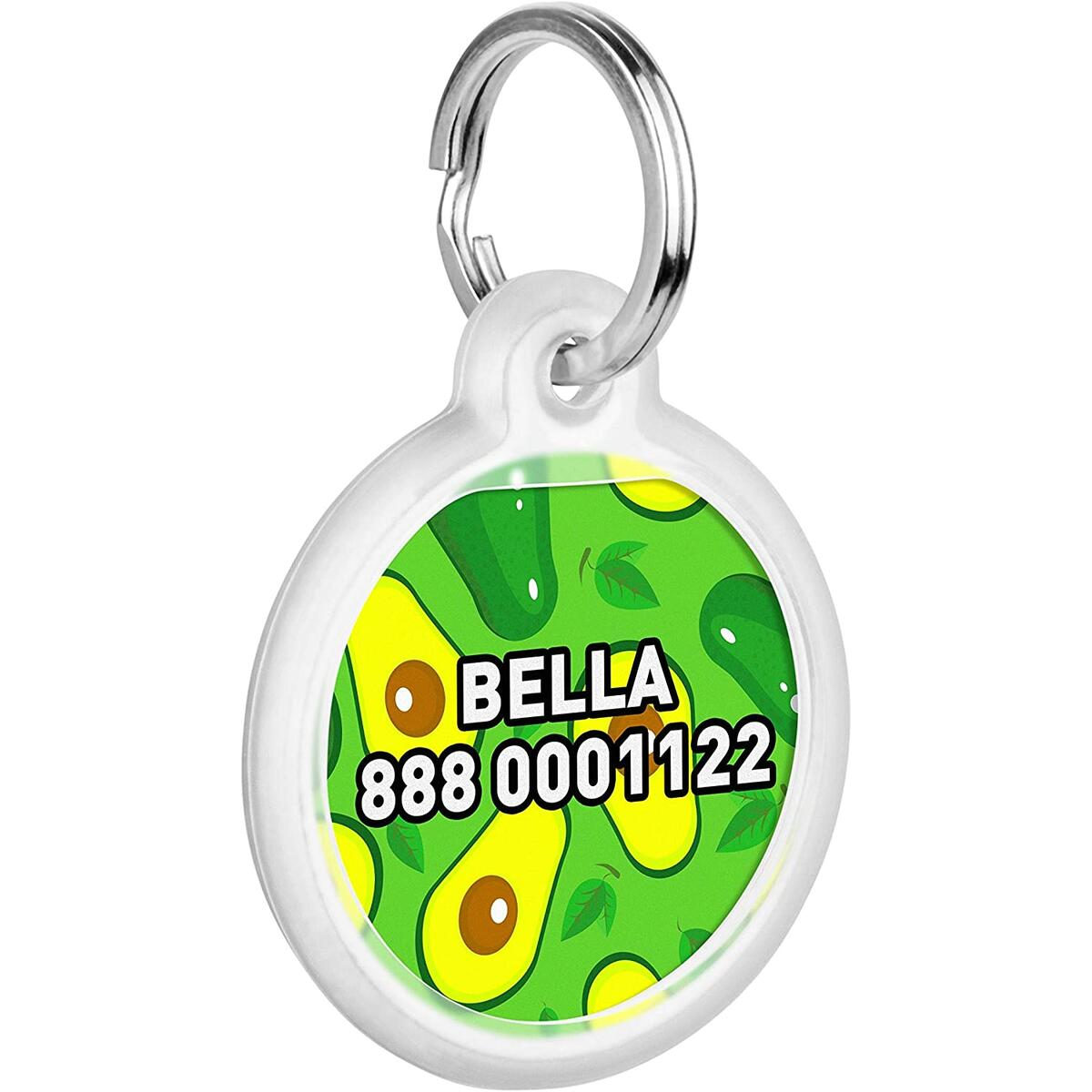 Personalized Pet ID Tag for Dog Cat with QR Pasport Global Search System of Lost Pets - Avocado Pattern
