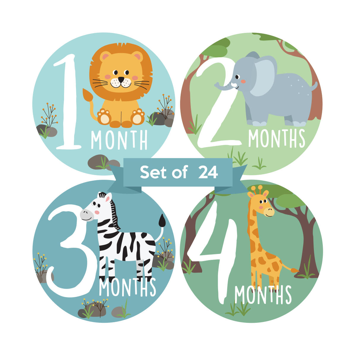 Adorable Animal 4 in Baby Monthly Milestone Stickers for Boys or Girls. Set of 24 Gender Neutral Month Decals. Unisex Jungle Themed Newborn Picture Props. First Year Photo Aids for Babies.