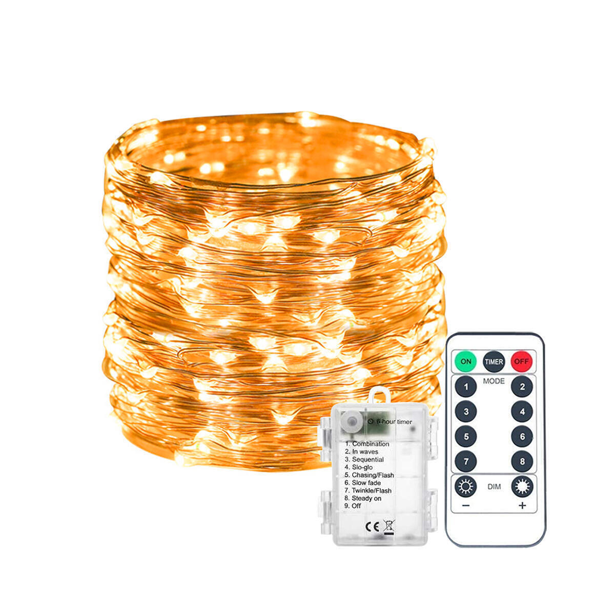 Fairy Lights, 200 LED 66 FT Copper String Light 8 Modes LED String Lights Battery Operated with Remote Control for Bedroom,Indoor,Outdoor,Christmas Decor (Warm White)