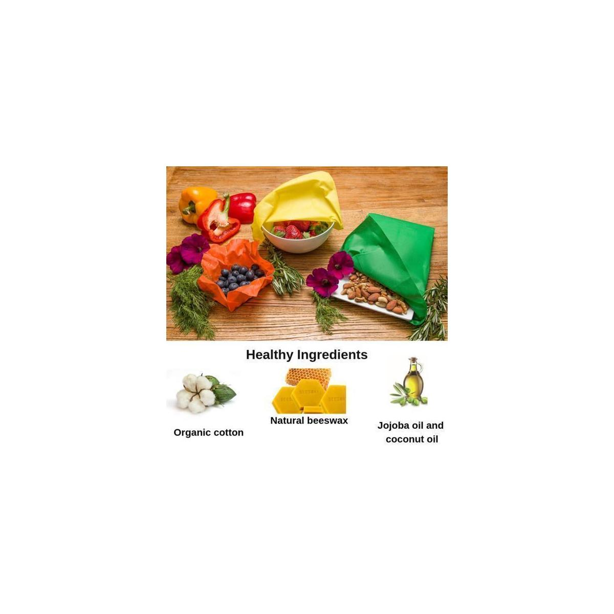 Earthical Reusable Beeswax Wraps - 6 Pack (2 Small, 2 Medium, 2 Large) Washable & Eco-Friendly Food Wraps w/Free Mesh Produce White Muslin Drawstring Bags (Set of 3)