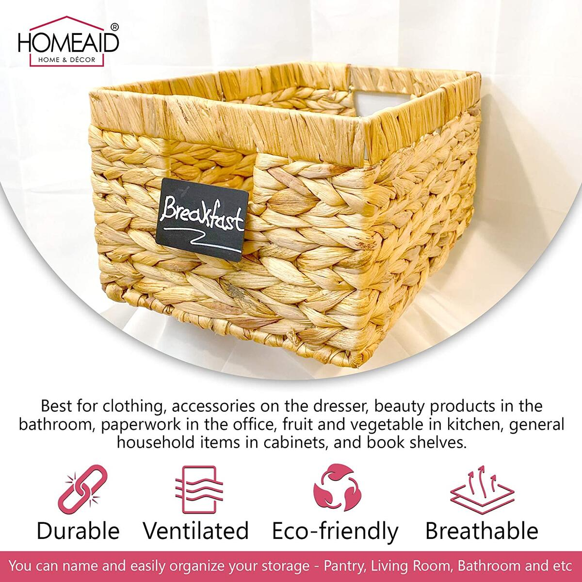 Eco Friendly Handy Natural Woven Basket for Storage and Organization