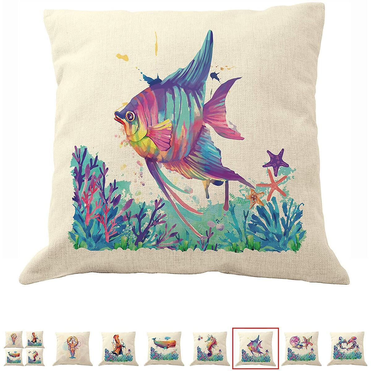 DrupsCo 18x18 Angel Fish Pillow Cover for Couches - Angel Fish Decor Pillow Cover, Cotton Linen Coastal Decor Beach Theme Pillow Covers