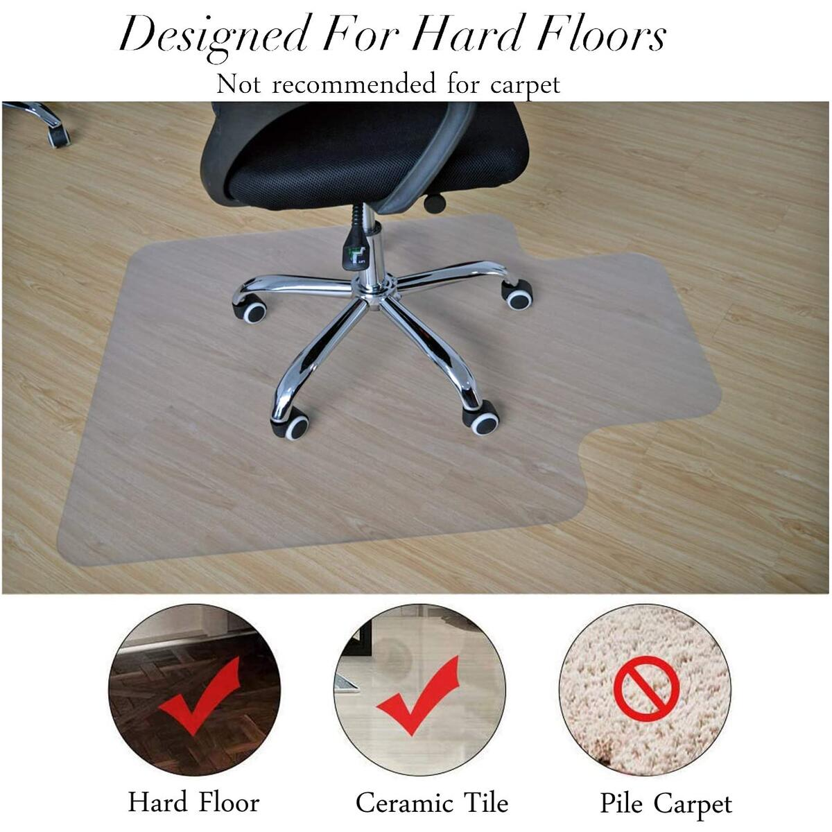 BigTron Office Desk Chair Mat for Hardwood Floors- PVC Matte, Transparent Durable Hardwood Floor Protector, Chair Mat is Immediately Flat Out of Box, 36x48 with Lip(Clear)