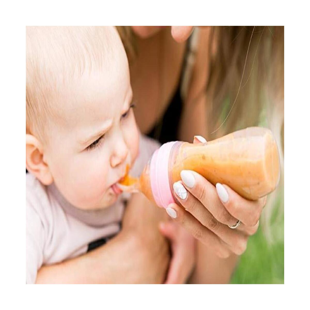 Infant Baby Silicone Gel Feeding Bottle With Spoon Newborn Toddler Food Supplement Rice Cereal Bottles Milk Feeder 90ml