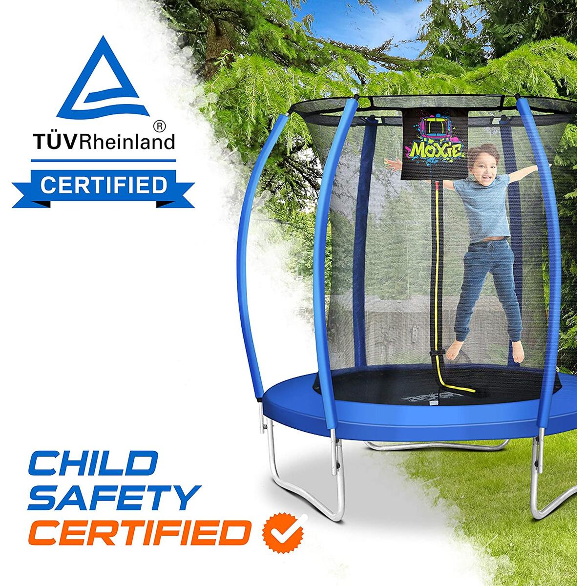 6 Foot - Orange or Blue - Outdoor Heights Bubble-Shaped Outdoor Trampoline Set with Secured top Ring Safety Enclosure & Bonus 3 Step Ladder
